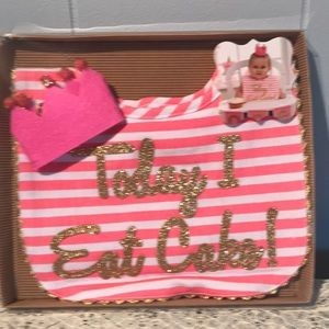 Other - Today I eat cake! bib and felt crown